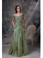 Luxurious Olive Green Mother of the Bride Dress Column Off The Shoulder Beading and Ruch Taffeta Floor-length