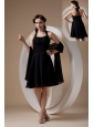 Popular Black Cocktail Dress Column / Sheath Halter Chiffon Ruch Knee-length