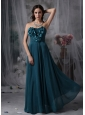 Pretty Peacock Green Cheap Bridesmaid Dress Empire Strapless Chiffon Hand Made Flowers Floor-length