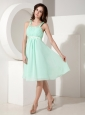 Beautiful Apple Green Cocktail Dress Empire Square Chiffon Beading Knee-length