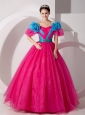 Beautiful Hot Pink Off The Shoulder Quinceanera Dress Hand Made Flowers