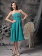 Beautiful Turquoise Empire Strapless Homecoming Dress Chiffon Beading Knee-length