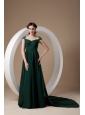 Classical Dark Green Empire Evening Dress Square Watteau Train Chiffon Beading