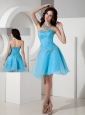 Custom Made Baby Blue Cocktail Dress A-line Sweetheart Organza Beading Mini-length