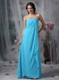 Custom Made Baby Blue Empire Strapless Homecoming Dress Chiffon Hand Made Made Flowers Floor-length