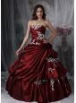Custom Made Burgundy Ball Gown Strapless Quinceanera Dress Taffeta Appliques Floor-length