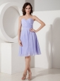 Custom Made Lilac Cocktail Dress Empire Sweetheart Chiffon Pleated Knee-length