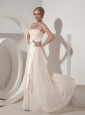 Custom Made Off White Mother of the Bride Dress Empire Strapless Chiffon Beading Floor-length