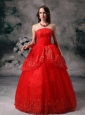 Custom Made Red Ball Gown Strapless Quinceanera Dress Sequin Floor-length