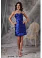 Custom Made Royal Blue Cocktail Dress Column / Sheath Sweetheart Taffeta Beading Mini-length