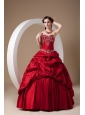 Custom Made Wine Red A-line Quinceanera Dress Sweetheart Taffeta Appliques Floor-length