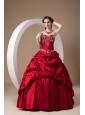 Custom Made Wine Red A-line Quinceanera Dress Sweetheart Taffeta Appliques Floor-length