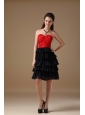 Cute Black and Red A-line Sweetheart Short Prom Dress Chiffon and Taffeta Beading Knee-length