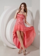 Discount Watermelon Red High-low Prom Dress Strapless Chiffon and Sequin