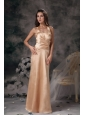Elegant Champagne Column Bridesmaid Dress Halter Satin Ruch Floor-length
