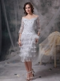 Elegant Grey Column / Sheath Off The Shoulder Mother Of The Bride Dress Organza Beading Tea-length