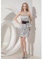Elegant Silver Column Cocktail Dress Strapless Taffeta Bow Mini-length