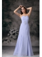 Elegant Lilac Column Strapless Mother Of The Bride Dress Chiffon Beading Floor-length