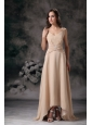 Elegnt Champagne Column Spaghetti Straps Mother Of Bride Dress Chiffon Beading Floor-length