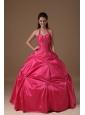 Exclusive Hot Pink Ball Gown Halter Quinceanera Dress Taffeta Beading Floor-length