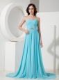 Formal Aqua Blue Empire Sweetheart Evening Dress  Chiffon Beading Brush Train