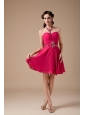 Formal Hot Pink Empire Sweetheart Cocktail Dress Chiffon Beading Mini-length