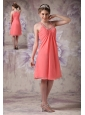 Gorgeous Watermelon Cocktail Dress Empire Scoop Chiffon Beading Knee-length