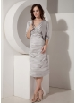 Gray Column / Sheath V-Neck Mother of the Bride Dress Taffeta Ruched Tea-length