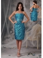Latest Turquoise Column / Sheath Evening Dress Strapless Taffeta Ruffles Knee-length