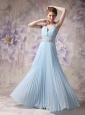Lovely Baby Blue A-line Halter Prom Dress Chiffon Beading Floor-length