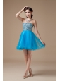 Low price Teal A-line Cocktail Dress Strapless Organza Beading Mini-length