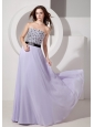 Luxurious Lilac Empire Strapless Evening Dress Chiffon Beading Floor-length