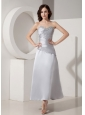 Modest Silver Ankle-length Mother of The Bride Dress Princess Sweetheart Satin Beading