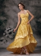Modest Yellow A-line Straps Homecoming Dress Taffeta Lace Brush Train