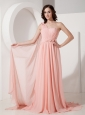 New Baby Pink Empire Evening Dress One Shoulder  Chiffon Appliques Watteau Train