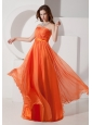 Orange Red Empire Evening Dress Strapless Chiffon Ruch Floor-length
