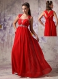 Perfect Red Empire / Princess Evening Dress Straps  Chiffon Beading Floor-length