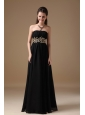 Popular Black Empire Little Black Dress Strapless Chiffon Beading Floor-length