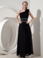 Popular Column One Shoulder Little Black Dress Chiffon Beading Ankle-length