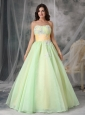 Popular Yellow Green A-line Strapless Quinceanera Dress Organza Appliques Floor-length
