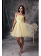 Remarkable Light Yellow Cocktail Dress A-line Strapless Beading and Ruch Orangza Knee-length