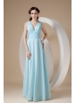 Simple Aqua Column / Sheath V-neck Evening Dress Chiffon Ruch Floor-length