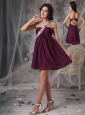 Sweet Dark Purple Short Prom Dress Empire One Shoulder Chiffon Appliques Mini-length
