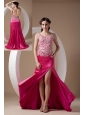 Sweet Fuchsia Column Evening Dress Scoop Elastic Woven Satin Appliques Brush Train