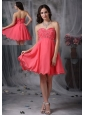 The Super Hot Cocktail Dress Coral Red A-line / Princess Sweetheart Chiffon Beading Mini-length