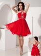 The Super Hot Red Empire Cocktail Dress Straps Chiffon Beading Mini-length