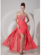 Watermelon Red High-low Prom Dress / Evening Gown with Beading