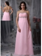 Beautiful Baby Pink Strapless Prom Dress Chiffon Beading