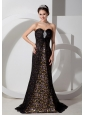 Beautiful Black Column Sweetheart Print Prom Dress Chifffon with Beading