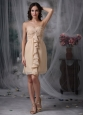 Beautiful Champagne Cocktail Dress Column / Sheath Sweetheart Chiffon Ruch Mini-length